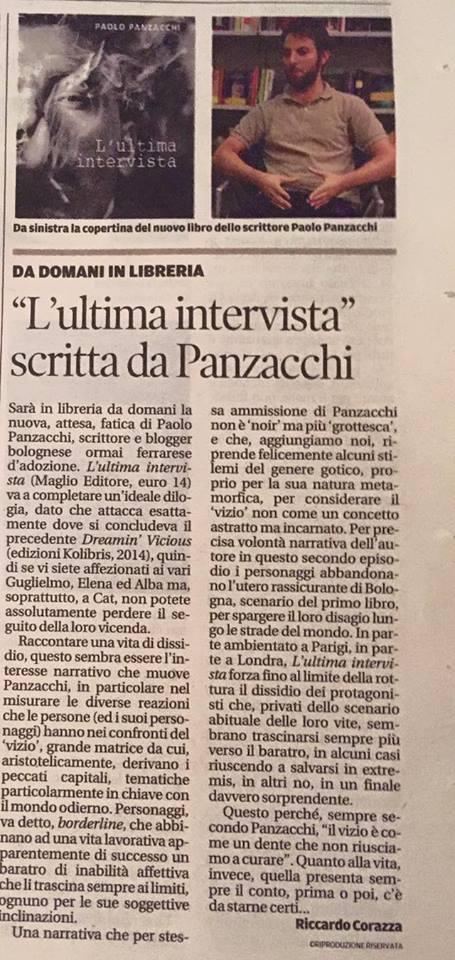 L'ultima intervista su La Nuova Ferrara